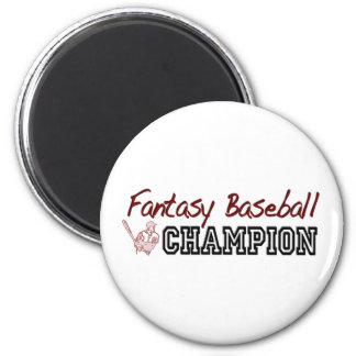 Campeón del béisbol de la fantasía imán redondo 5 cm