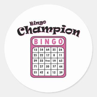 Campeón del bingo pegatina redonda