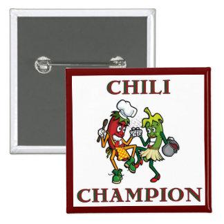 Campeón del chile que baila el botón de Chilis Pin Cuadrado