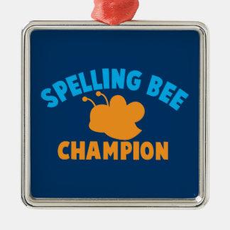 Campeón del concurso de ortografía adorno navideño cuadrado de metal