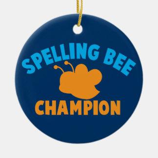 Campeón del concurso de ortografía adorno navideño redondo de cerámica