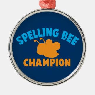 Campeón del concurso de ortografía adorno navideño redondo de metal