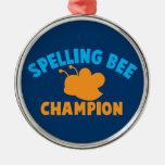 Campeón del concurso de ortografía adorno redondo plateado