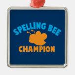 Campeón del concurso de ortografía adorno cuadrado plateado