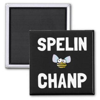 Campeón del concurso de ortografía imán cuadrado