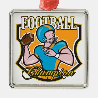 Campeón del fútbol adorno navideño cuadrado de metal
