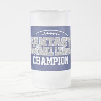 Campeón del fútbol de la fantasía - azul y gris taza de cristal