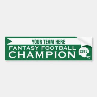 Campeón del fútbol de la fantasía etiqueta de parachoque