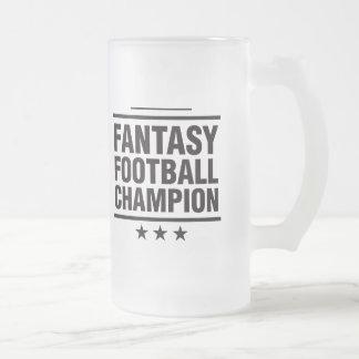 ¡Campeón del fútbol de la fantasía! Jarra De Cerveza Esmerilada