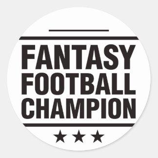 ¡Campeón del fútbol de la fantasía! Pegatina Redonda