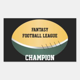 Campeón del fútbol de la fantasía (personalizable) pegatina rectangular