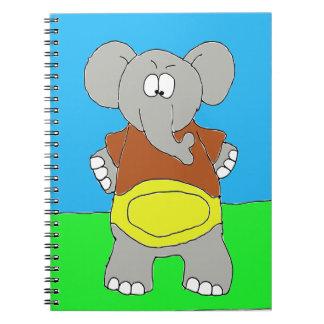 Campeón del fútbol del elefante libro de apuntes con espiral