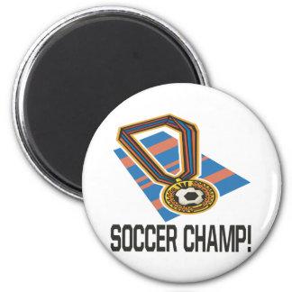 Campeón del fútbol imán redondo 5 cm