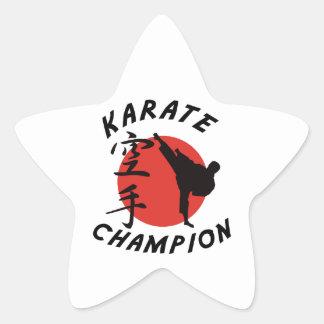 Campeón del karate del karate pegatina en forma de estrella