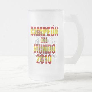 Campeón Del Mundo 2010 España futbol Frosted Glass Beer Mug