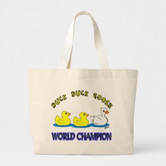 Campeón del mundo del ganso del pato del pato bolsa de tela grande