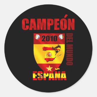 Campeón Del Mundo España Pegatina Redonda