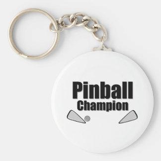 Campeón del pinball llavero redondo tipo pin