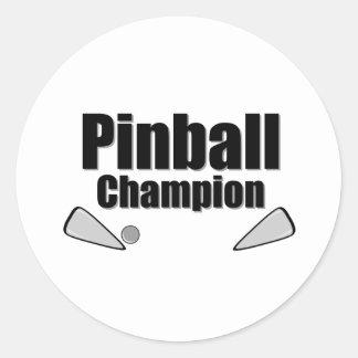 Campeón del pinball pegatina redonda
