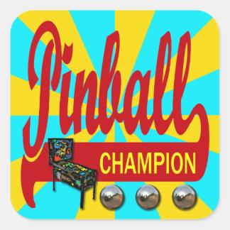 Campeón del pinball pegatina cuadrada