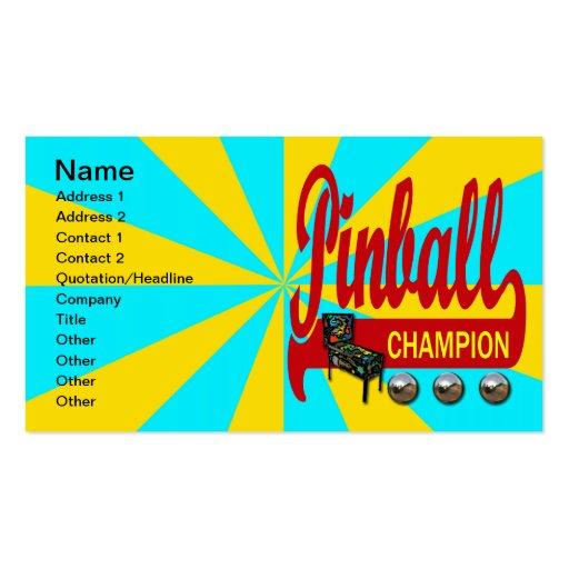 Campeón del pinball tarjetas de visita