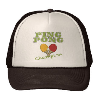 Campeón del ping-pong gorros bordados