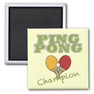 Campeón del ping-pong imán cuadrado