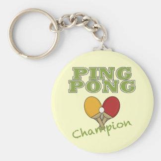 Campeón del ping-pong llavero redondo tipo pin