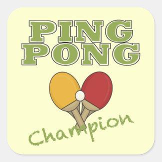 Campeón del ping-pong calcomanía cuadradas personalizadas
