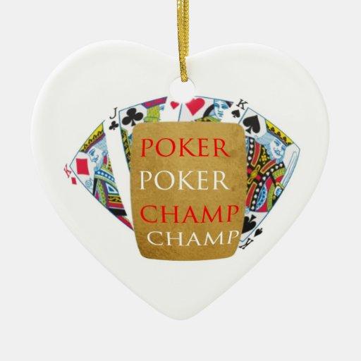 Campeón del póker ART101 - texto del diseñador del Adorno De Cerámica En Forma De Corazón