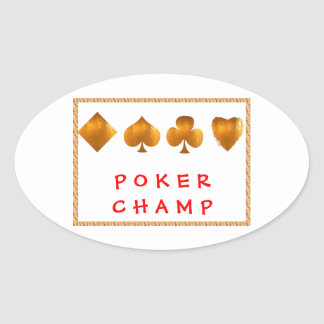 Campeón del PÓKER: Regalos del sorteo Pegatina Ovalada