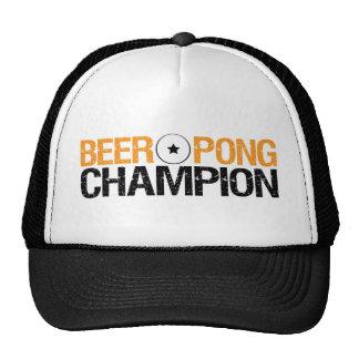campeón del pong de la cerveza gorros bordados