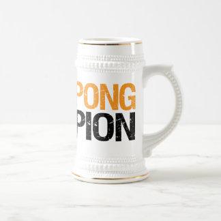 campeón del pong de la cerveza tazas de café