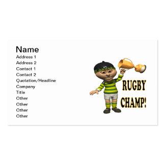 Campeón del rugbi plantilla de tarjeta personal