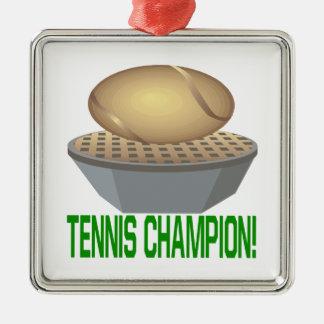 Campeón del tenis adorno navideño cuadrado de metal