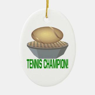 Campeón del tenis adorno navideño ovalado de cerámica