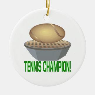 Campeón del tenis adorno navideño redondo de cerámica