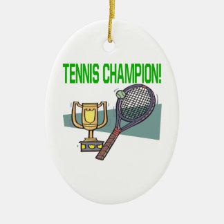 Campeón del tenis adorno ovalado de cerámica