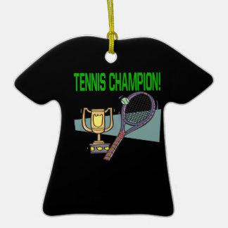 Campeón del tenis adorno de cerámica en forma de camiseta