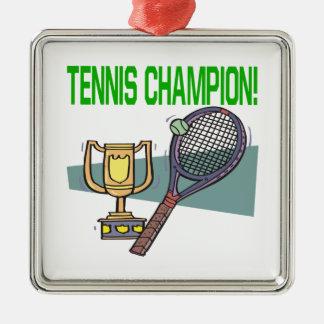 Campeón del tenis adorno cuadrado plateado