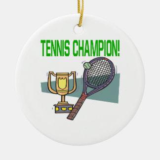 Campeón del tenis adorno redondo de cerámica