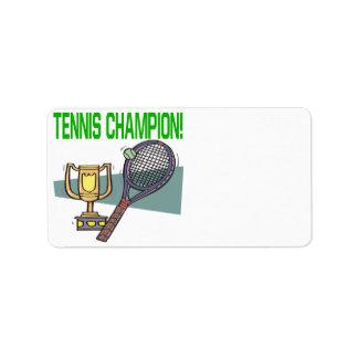Campeón del tenis etiqueta de dirección