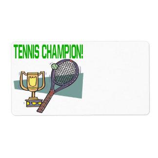 Campeón del tenis etiqueta de envío