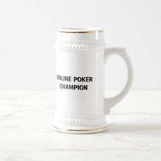 Campeón en línea del póker jarra de cerveza