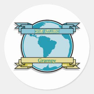 Campeón Grampy del mundo Etiquetas Redondas
