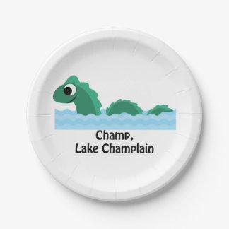 Campeón, lago Champlain Plato De Papel 17,78 Cm