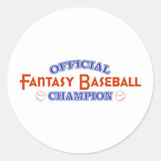 Campeón oficial del béisbol de la fantasía etiquetas redondas