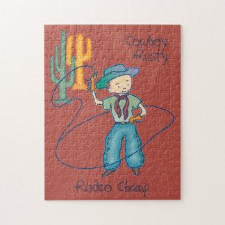 Campeón oxidado del rodeo del vaquero puzzle