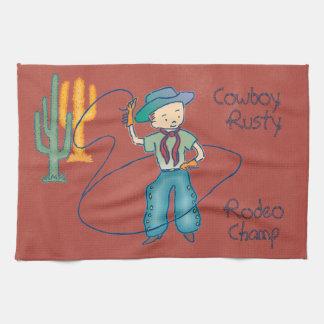 Campeón oxidado del rodeo del vaquero toallas