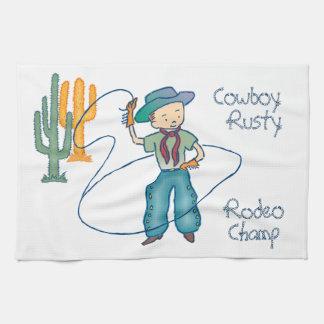 Campeón oxidado del rodeo del vaquero toallas de cocina